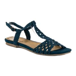 Corina Materiałowe Sandały Płaskie niebieskie 1