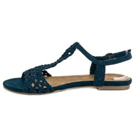 Corina Materiałowe Sandały Płaskie niebieskie 2