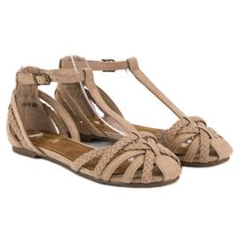 Corina Plecione płaskie sandały brązowe 4