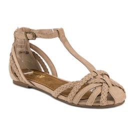 Corina Plecione płaskie sandały brązowe 1