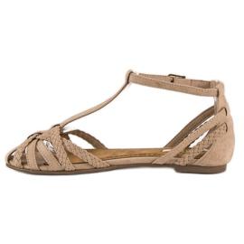 Corina Plecione płaskie sandały brązowe 2