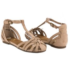 Corina Plecione płaskie sandały brązowe 3