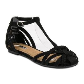 Corina Plecione płaskie sandały czarne 1