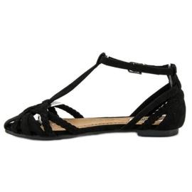 Corina Plecione płaskie sandały czarne 2