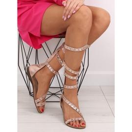Sandałki gladiatorki rzymianki różowe JL59 Champagne 1
