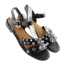 Sandałki na płaskiej podeszwie czarne 99-19 4