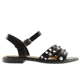 Sandałki na płaskiej podeszwie czarne 99-19 3