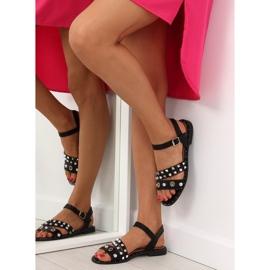 Sandałki na płaskiej podeszwie czarne 99-19 6