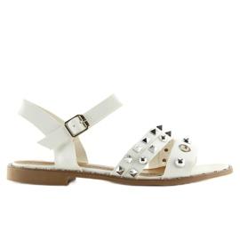 Sandałki na płaskiej podeszwie białe 99-19 White 3
