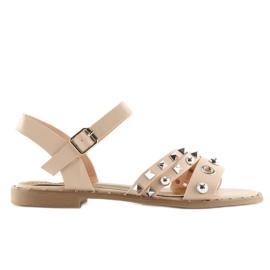 Sandałki na płaskiej podeszwie różowe 99-19 Pink 3