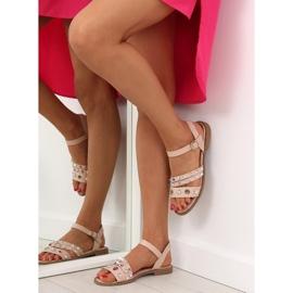 Sandałki na płaskiej podeszwie różowe 99-19 Pink 6