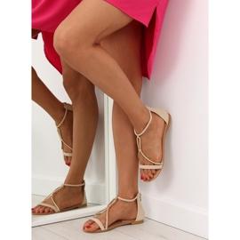 Sandałki damskie beżowe 117-6 beige beżowy 1