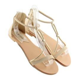 Sandałki damskie beżowe 117-6 beige beżowy 4