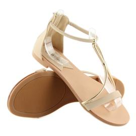Sandałki damskie beżowe 117-6 beige beżowy 2