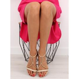 Sandałki damskie beżowe 117-6 beige beżowy 3