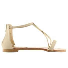 Sandałki damskie beżowe 117-6 beige beżowy 5
