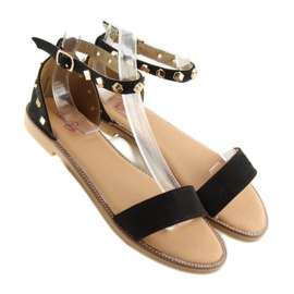 Sandałki z ćwiekami czarne 117-11 black 2