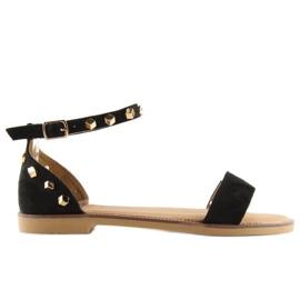 Sandałki z ćwiekami czarne 117-11 black 5