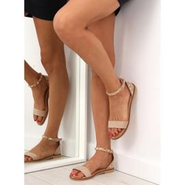 Sandałki z ćwiekami beżowe 117-11 beige beżowy 3