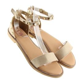 Sandałki z ćwiekami beżowe 117-11 beige beżowy 2