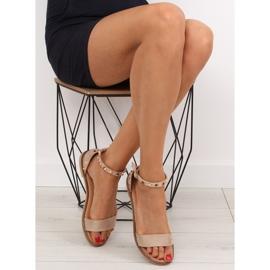 Sandałki z ćwiekami beżowe 117-11 beige beżowy 4