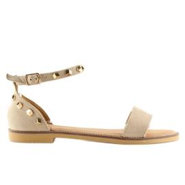 Sandałki z ćwiekami beżowe 117-11 beige beżowy 5
