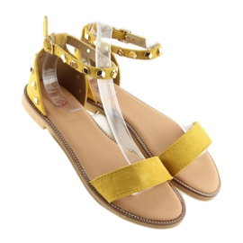 Sandałki z ćwiekami żółte 117-11 Yellow 2