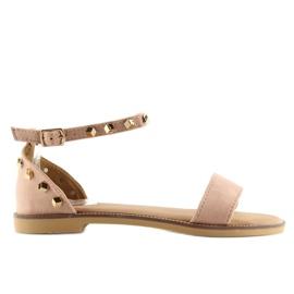 Sandałki z ćwiekami różowe 117-11 pink 1