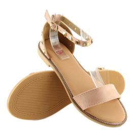Sandałki z ćwiekami różowe 117-11 pink 6