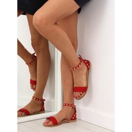 Sandałki z ćwiekami czerwone 117-11 Red 2