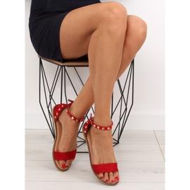 Sandałki z ćwiekami czerwone 117-11 Red 3
