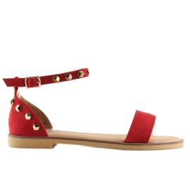 Sandałki z ćwiekami czerwone 117-11 Red 4