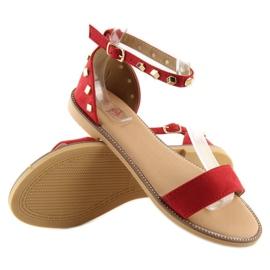 Sandałki z ćwiekami czerwone 117-11 Red 5