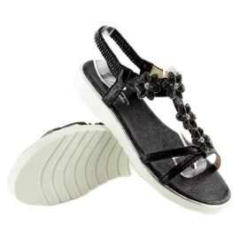 Wygodne sandałki z kwiatuszkami czarne 127-58 Black 2