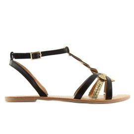 Sandałki damskie gold shine czarne 758 black 2