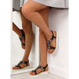 Sandałki damskie bardzo wygodne czarne 981 Black 1