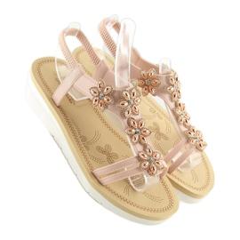 Sandałki damskie wygodne różowe 981 pink 3