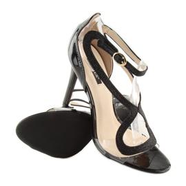 Sandałki na szpilce czarne 1443 black 3