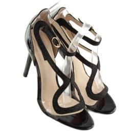 Sandałki na szpilce czarne 1443 black 6