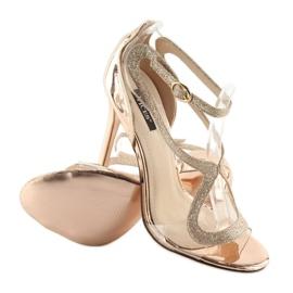 Sandałki na szpilce różowe 1443 champagne 3