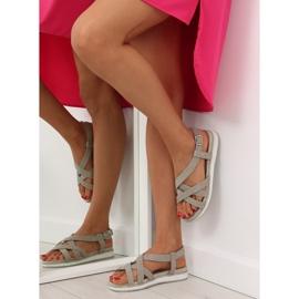 Sandałki damskie bardzo wygodne szare 1499 Grey 2
