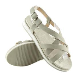Sandałki damskie bardzo wygodne szare 1499 Grey 1
