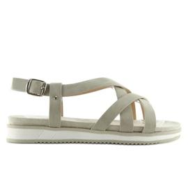 Sandałki damskie bardzo wygodne szare 1499 Grey 3