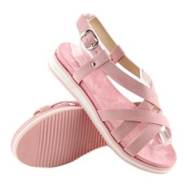 Sandałki damskie bardzo wygodne różowe 1499-20 Pink 2