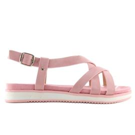 Sandałki damskie bardzo wygodne różowe 1499-20 Pink 3