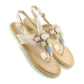 Sandałki z kamieniami beżowe 3072 beige beżowy 2