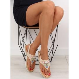 Sandałki z kamieniami beżowe 3072 beige beżowy 1