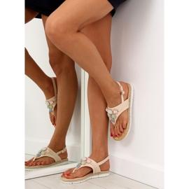 Sandałki z kamieniami beżowe 3072 beige beżowy 5