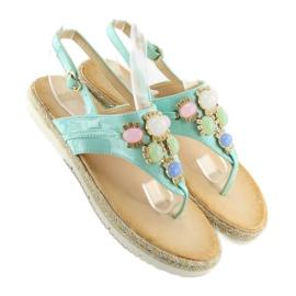 Sandałki z kamieniami miętowe 3072 mint niebieskie 2