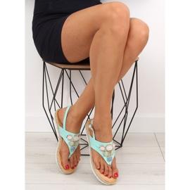 Sandałki z kamieniami miętowe 3072 mint niebieskie 1